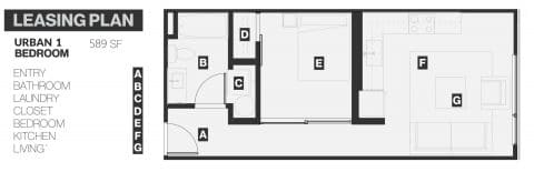 1 Bed / 1 Bath / 589 sq ft
