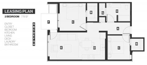 2 Bed / 1 Bath / 776 sq ft