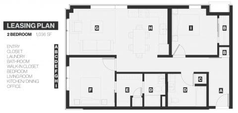 2 Bed / 2 Bath / 1,036 sq ft